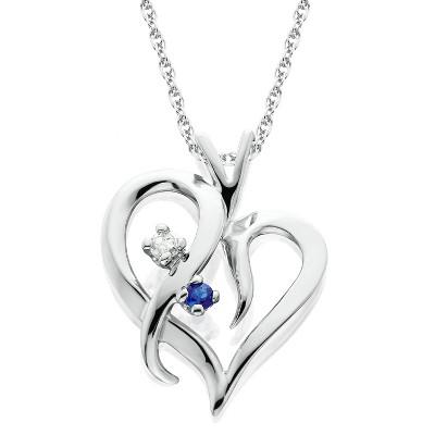 "Pompeii3 Blue Sapphire & Diamond Heart Pendant 14 KT White Gold With 18"" Chain"