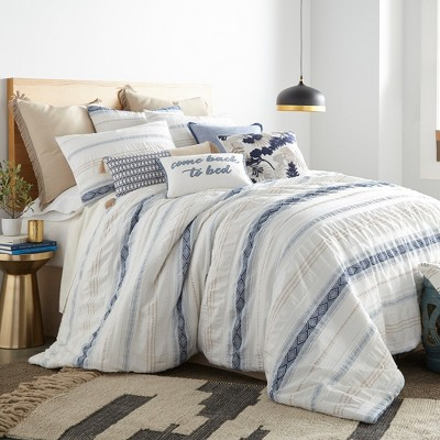 Pickford Blue Comforter Set - Taupe, Blue & Cream - Levtex Home