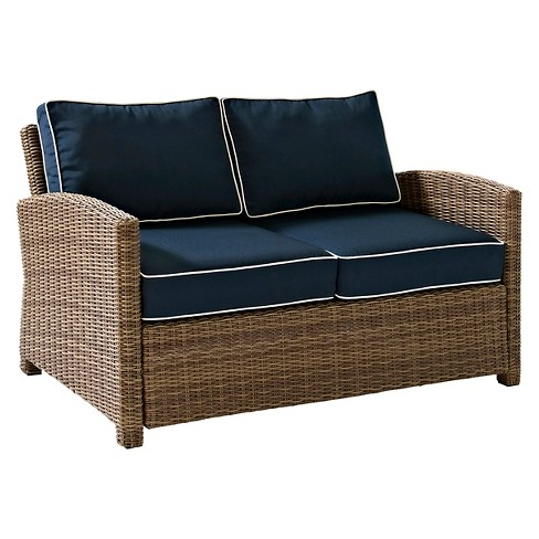 Crosley Bradenton Outdoor Wicker Loveseat with Navy Cushions - image 1 of 4