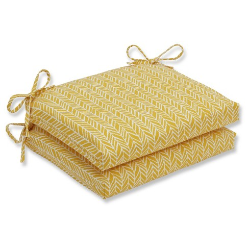 Outdoor/Indoor Herringbone Egg Yolk Squared Corners Seat Cushion Set of 2 - Pillow Perfect - image 1 of 1