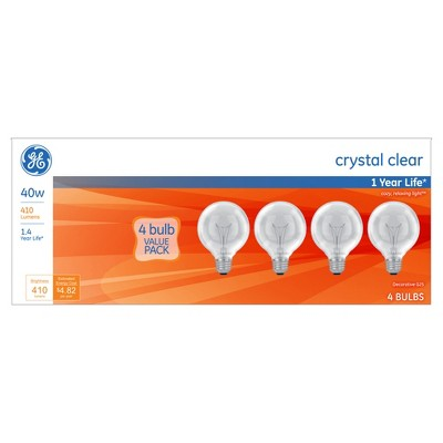 General Electric 40w 4pk G25 Incandescent Clear Light Bulb White