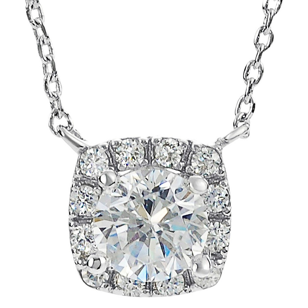 5/8 CT. T.W. Round-cut CZ Prong Set Drop Pendant Necklace in Sterling Silver - Silver (18.5), Girl's