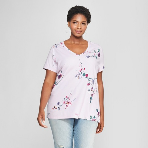 eaf9720cda3 Women s Plus Size Floral Print V-Neck Short Sleeve T-Shirt - Ava   Viv™  Light Purple