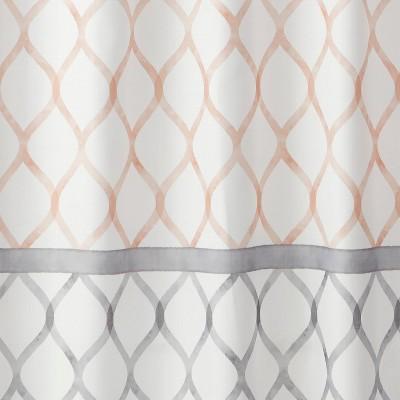 Dancing Lattice Fabric Shower Curtain Gray/Blush - SKL Home