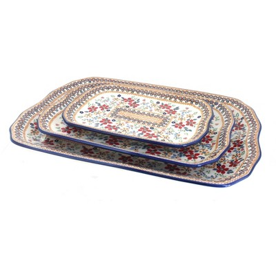 Blue Rose Polish Pottery Red Daisy 3 Piece Rectangular Serving Dish Set