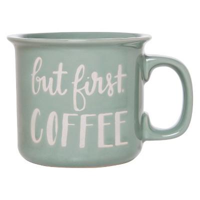 Threshold™ Camper Mug 15oz Stoneware  But First Coffee  Green