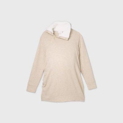 Maternity Snap Sherpa Collar Sweatshirt - Isabel Maternity by Ingrid & Isabel™ Oatmeal Heather XXL