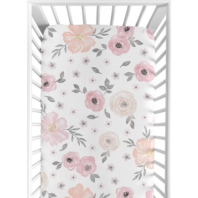 Sweet Jojo Designs Watercolor Floral Fitted Crib Sheet - Pink/Gray