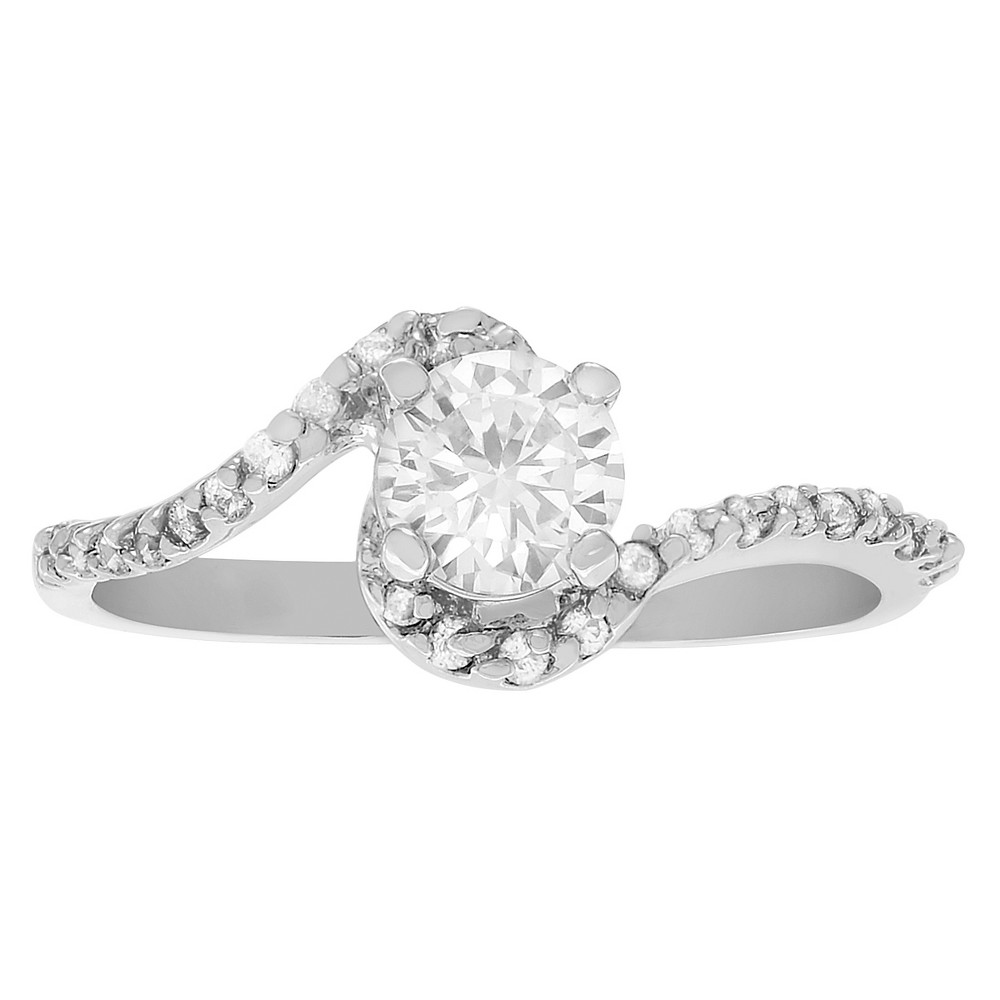 1/2 CT. T.W. Round-cut CZ Basket Set Slender Engagement Ring in Sterling Silver - Silver, 5, Girl's