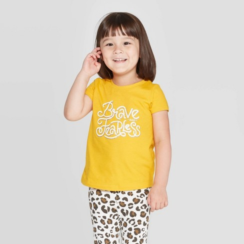 Toddler Girls' Short Sleeve 'Brave and Fearless' T-Shirt - Cat & Jack™ Yellow - image 1 of 3