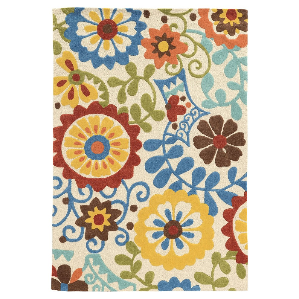 Trio 409 Frond Area Rug - Ivory / Blue (5' X 7')