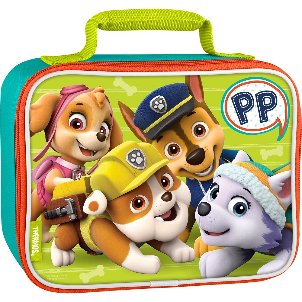 Thermos Paw Patrol Lunch Bag - Green This soft lunch bag from Geniune Thermos Brand is a great choice for kids to take their lunch to school. Decorated with brightly colored and detailed graphics, this lunch bag features a comfortable, padded carrying handle and premium foam insulation to keep lunches cooler and fresher. Color: Green. Pattern: Fictitious character.