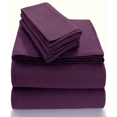 King Extra Deep Pocket Solid Sheet Set Purple - Tribeca Living