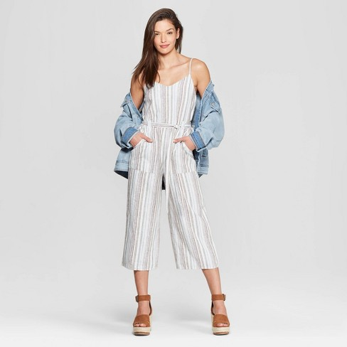 59f08c954be Women s Sleeveless V-Neck Striped Jumpsuit - Universal Thread™   Target