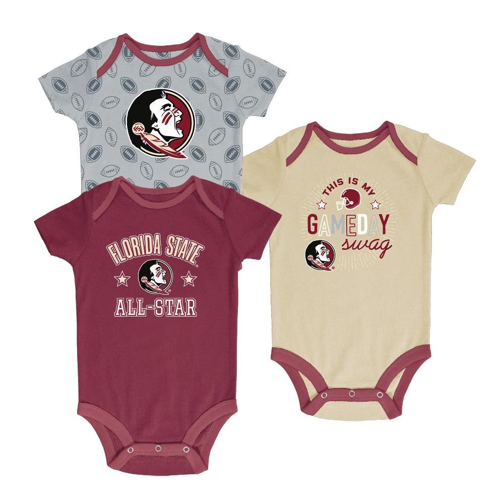 Florida State Seminoles Baby Boy Short Sleeve 3pk Bodysuit - 6-9M, Multicolored