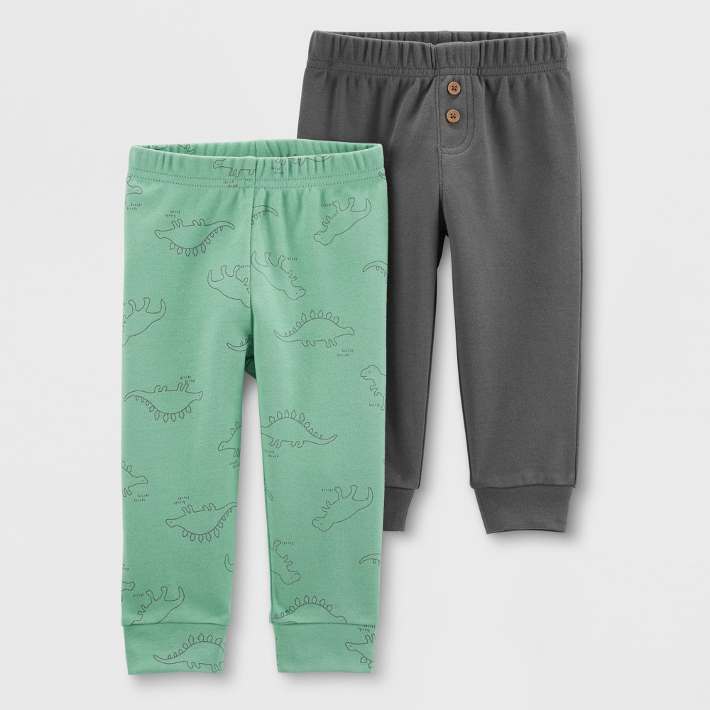 Baby Boys' 2pk Jogger Pants - Just One You made by carter's Green/Gray 18M