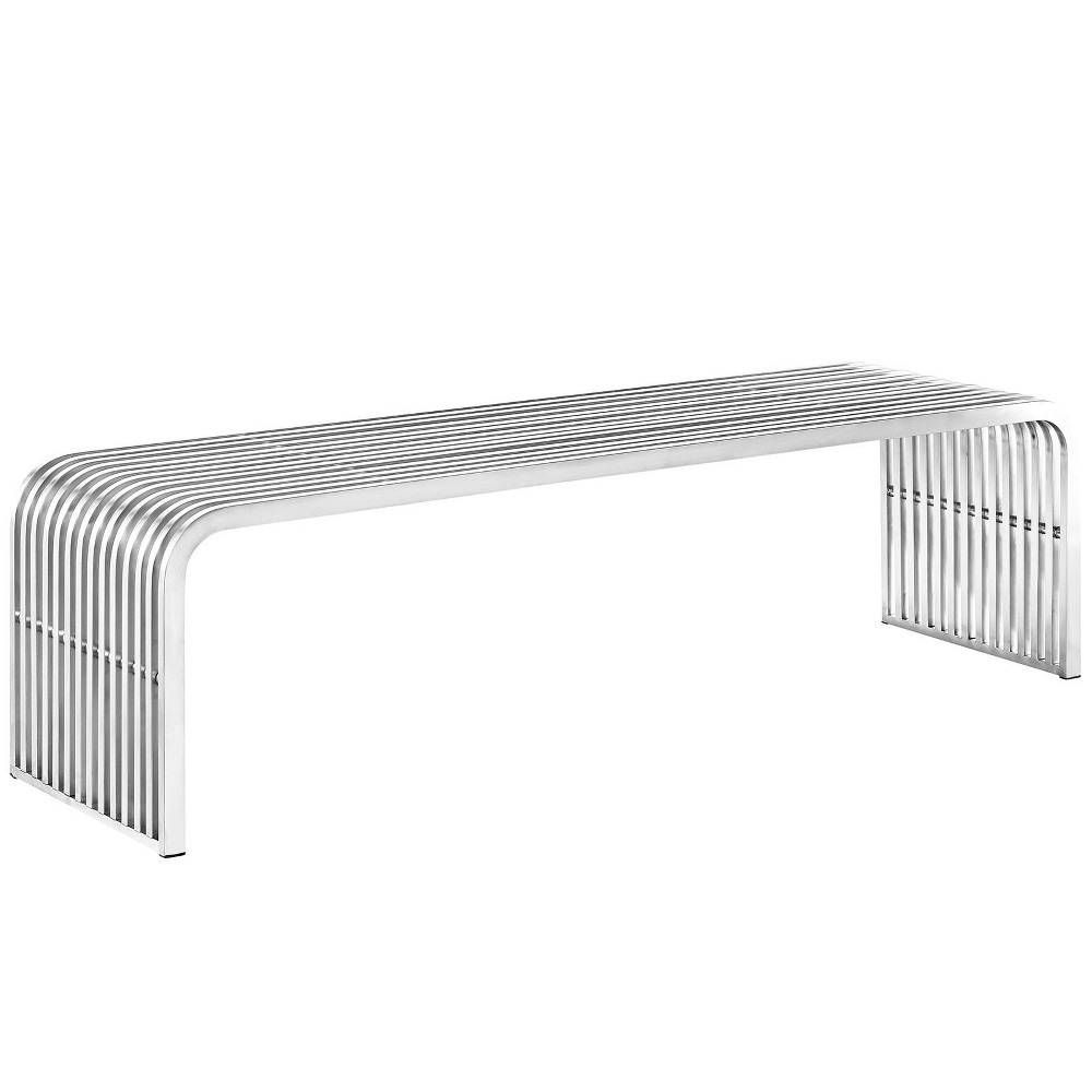"Image of ""Pipe 60"""" Stainless Steel Bench Silver - Modway"""
