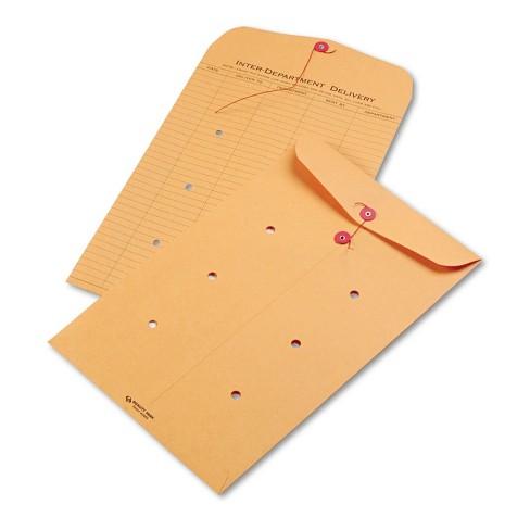 Quality Park Brown Kraft String & Button Interoffice Envelope 10 x 15 100/Carton 63564 - image 1 of 1