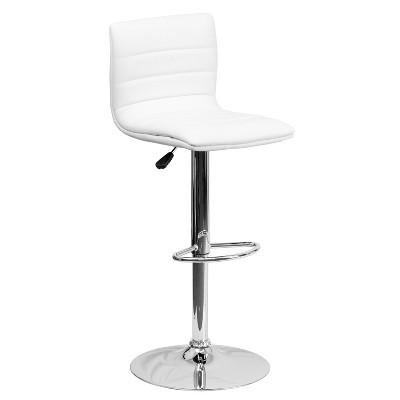 Flash Furniture Modern Vinyl Adjustable Height Barstool with Horizontal Stitch Back