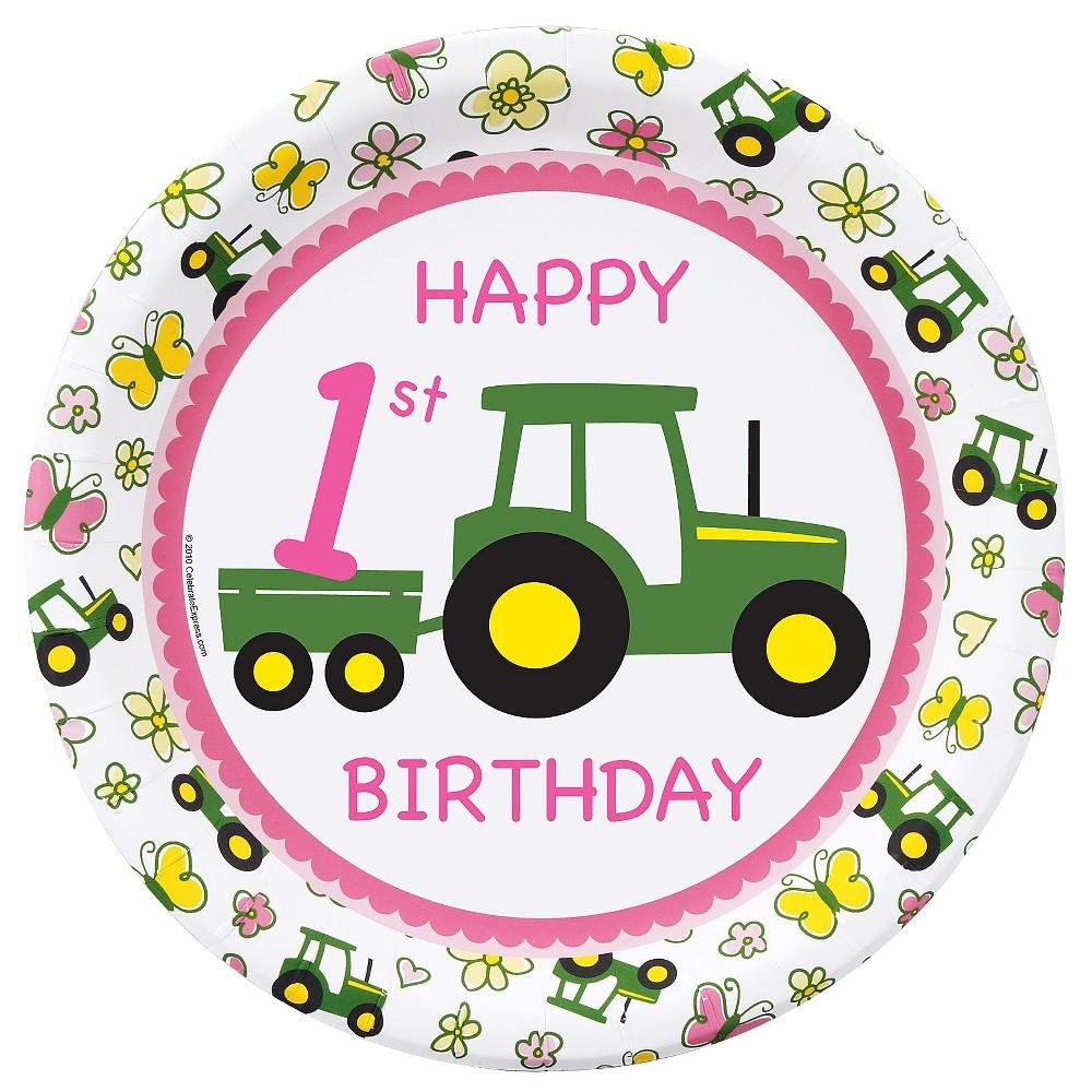 Image of 16ct BuySeasons John Deere Pink 1st Dinner Plate