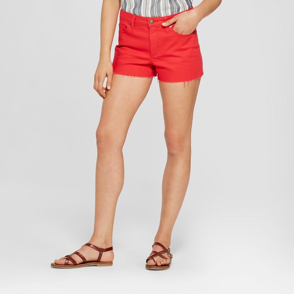 Women's High-Rise Shortie Jean Shorts - Universal Thread Red 12