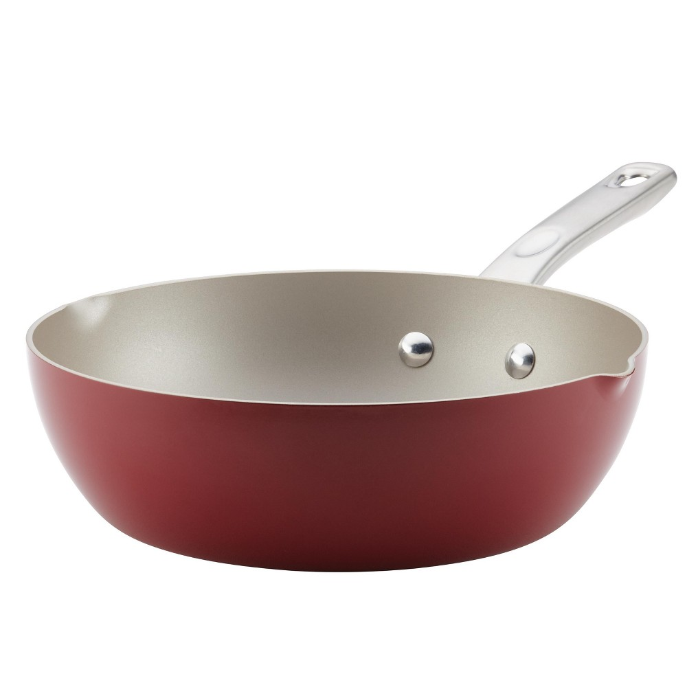Image of Ayesha Curry 9.75 Home Collection Porcelain Enamel Nonstick Chef Pan With Pour Spouts, Sienna Red