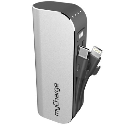 myCharge Hub Mini 3350mAh/2.4A Output Power Bank with Integrated Charging Cables - Silver