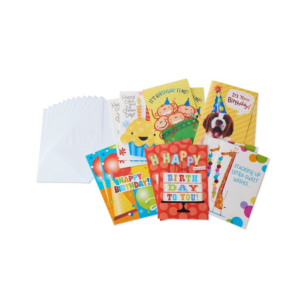 12ct Assorted Bright Birthday Cards And Envelopes, Multi-Colored