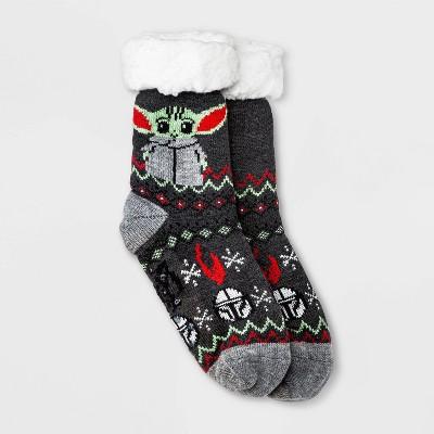 Women's Star Wars The Mandalorian Sherpa Lined Slipper Socks - Charcoal Heather 4-10