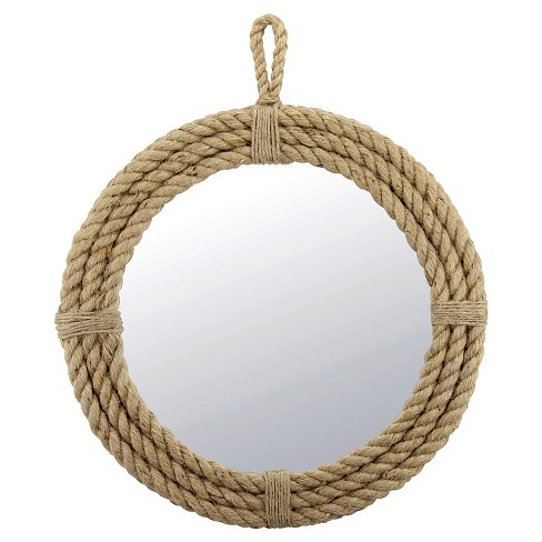 Decorative Rope Wall Mirror with Loop Hanger Tan - Stonebriar Collection - image 1 of 4