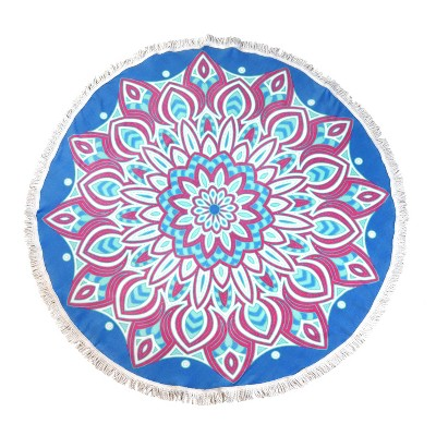 Round Mandala Beach Towel Pink/Blue - Sand & Surf
