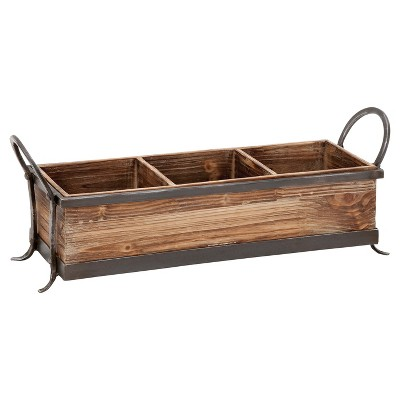 Rustic Elegance Wood and Iron Three-Compartment Rectangular Tray (23 )- Olivia & May