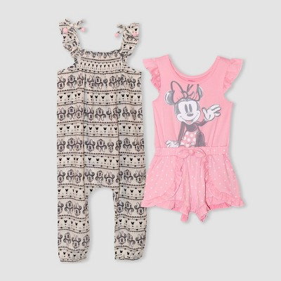 Toddler Girls' 2pk Minnie Mouse Romper and Jumpsuit - Pink
