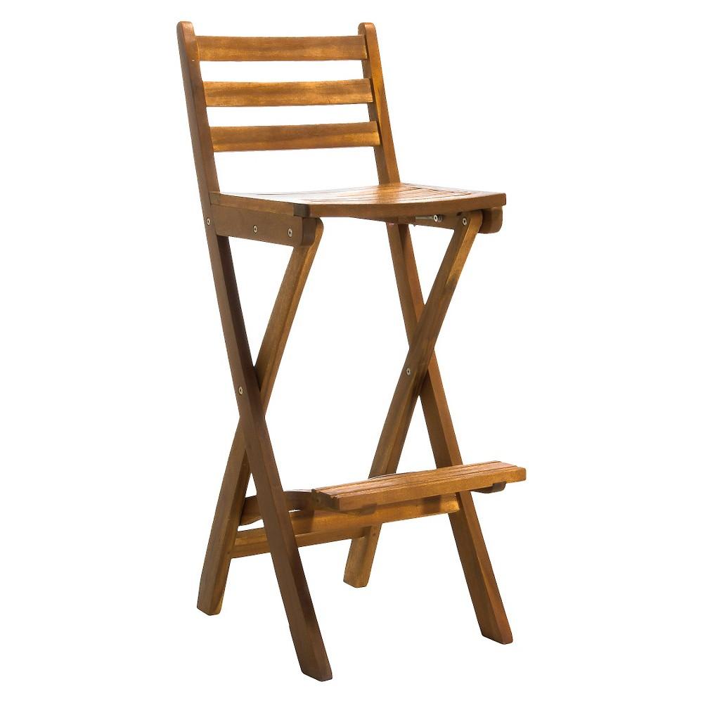 Tundra Acacia Wood Folding Patio Bar Chair - Natural - Christopher Knight Home