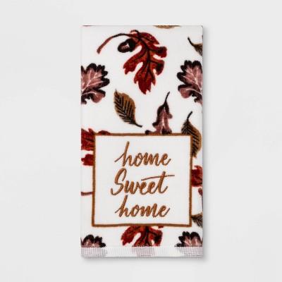 Harvest Home Sweet Home Leaves Print Hand Towel Maroon - Threshold™