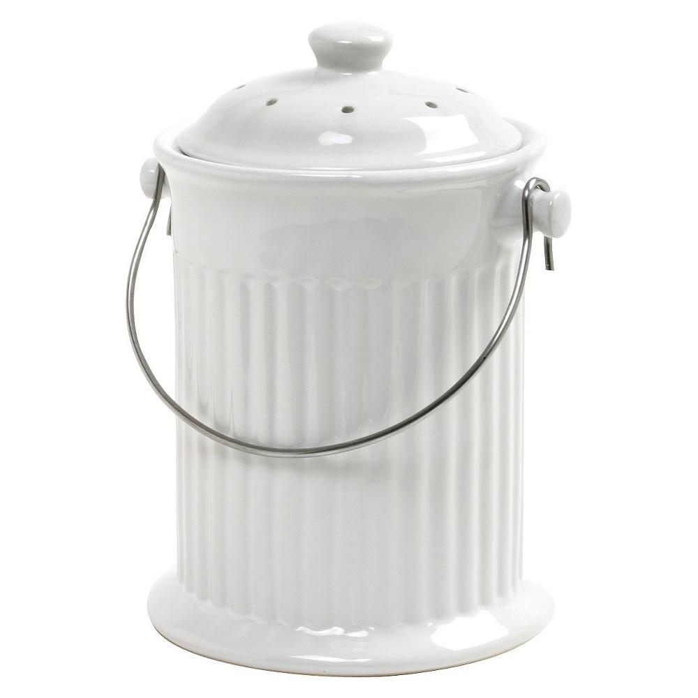 Norpro Ceramic Compost Keeper - White 4 Quart, White Ceramic