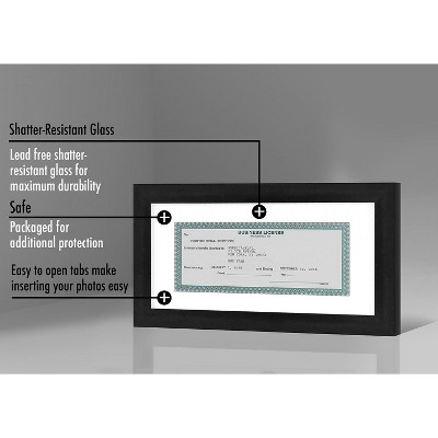"""Americanflat Business License Frame in Black with Shatter Resistant Glass for Wall and Tabletop - Acid Free - 5"""" x 10"""" - Available in 1 - 2 Pack and 15 Pack"""