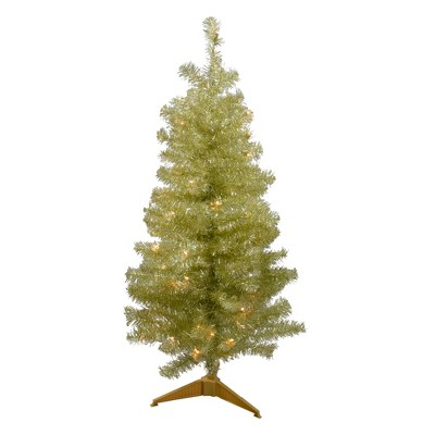 Northlight 4' Pre-Lit Gold Iridescent Tinsel Slim Artificial Christmas Tree - Clear Lights