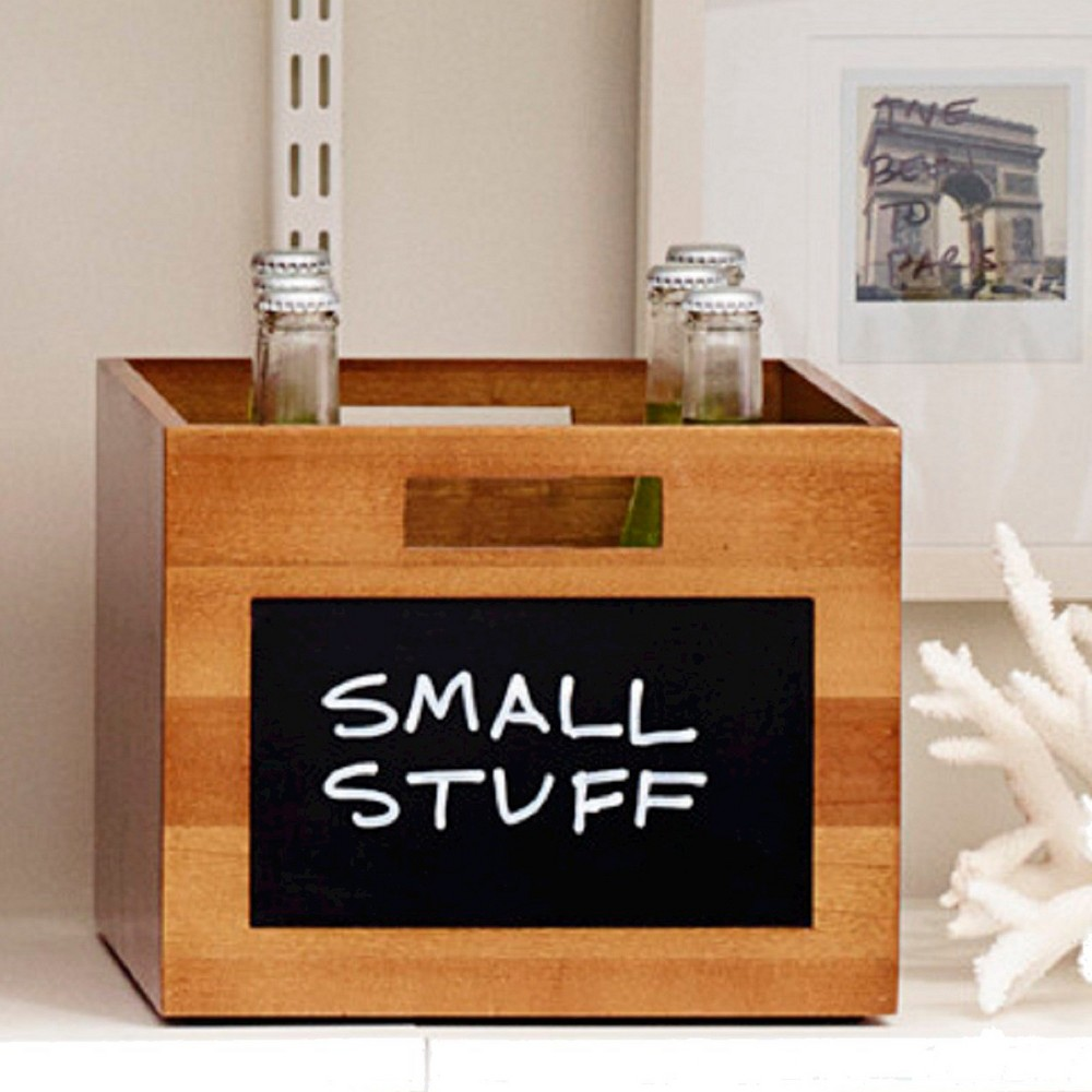 Small Wood Milk Crate with Chalkboard - Threshold