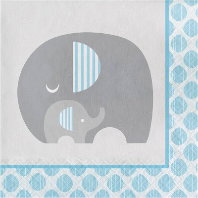 48ct Little Peanut Boy Elephant Napkins Blue