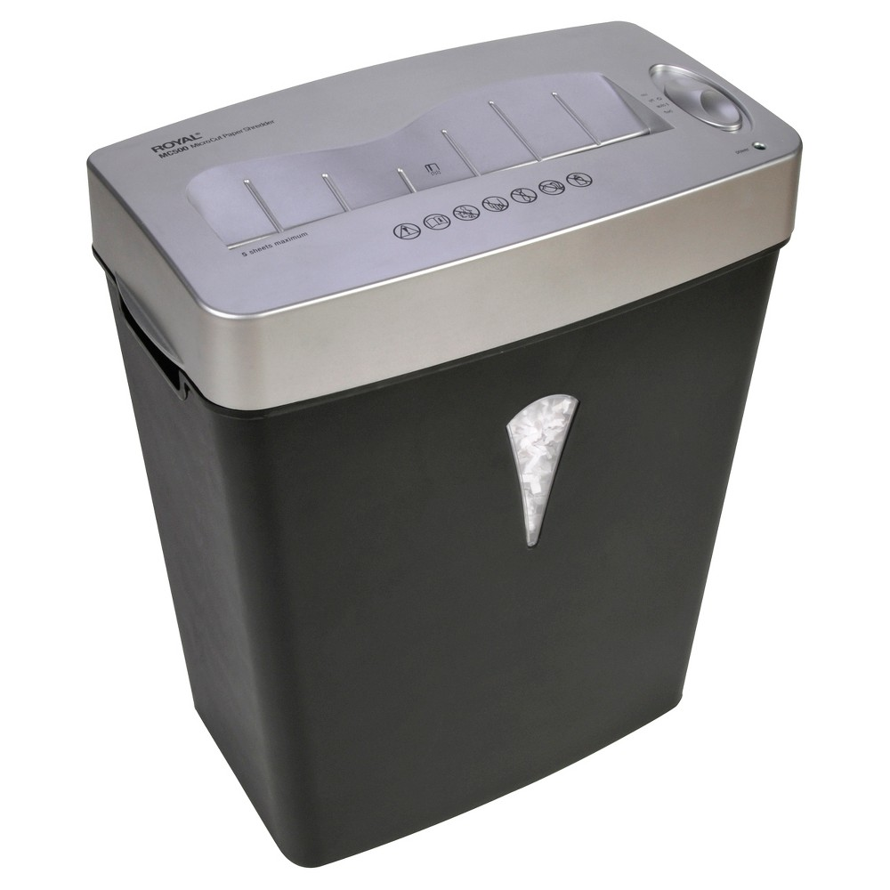 Image of Royal Paper Shredder with Wastebasket, 6ppm, 5 sheet Micro-cut - Black/Gray