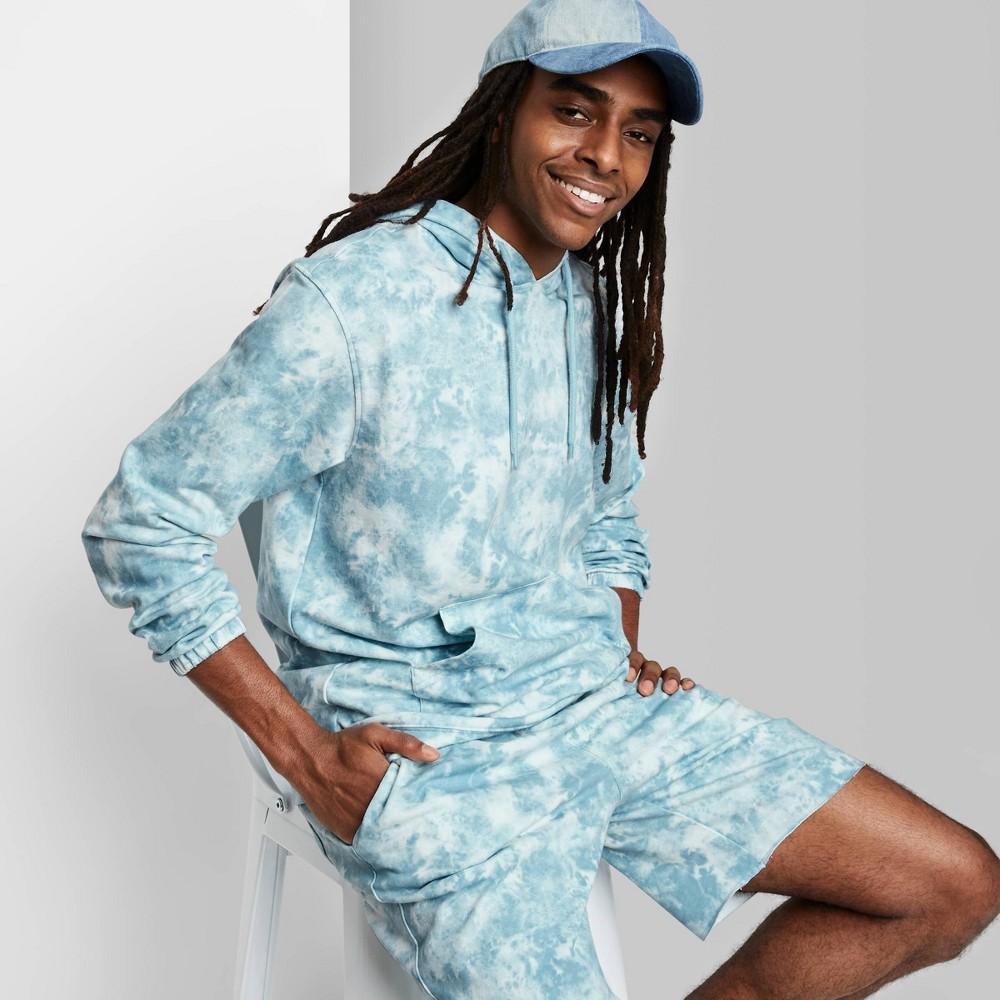 Men 39 S Tie Dye Regular Fit Fleece Hoodie Sweatshirt Original Use 8482 Sea Green Marble Xs