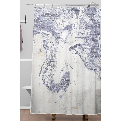 French Linen Marble Shower Curtain Blue