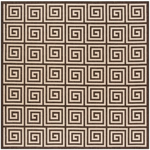 6 7 X6 Geometric Loomed Square Area Rug Natural Brown Safavieh