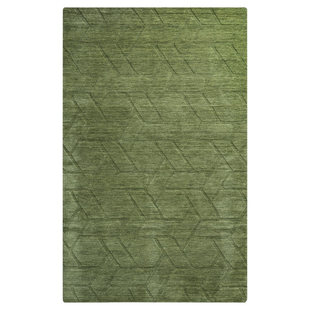 Rizzy Home Technique Collection Hand Loomed 100% Wool Area Rug - Green (8' x 10')