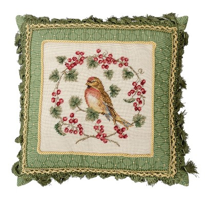 """C&F Home 16"""" x 16"""" Bird In Red Currant Petit Point Pillow"""