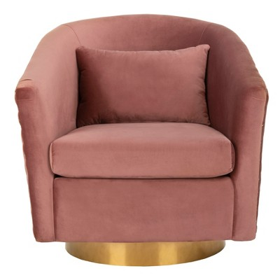 Clara Quilted Swivel Tub Chair Dusty Rose - Safavieh