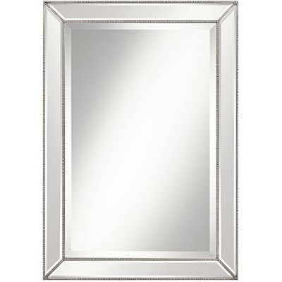 "Uttermost Roseau Silver Pewter 24"" x 34"" Beaded Wall Mirror"