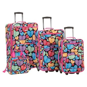 Rockland Jungle 4pc Luggage Set - New Heart, Size: Small, MultiColored