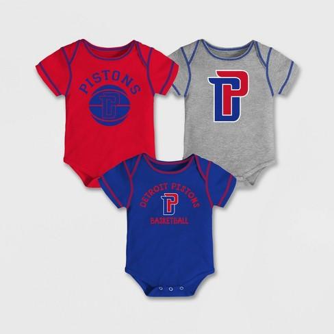 NBA Detroit Pistons Baby Boys' Rookie Bodysuit Set 3pk - image 1 of 4